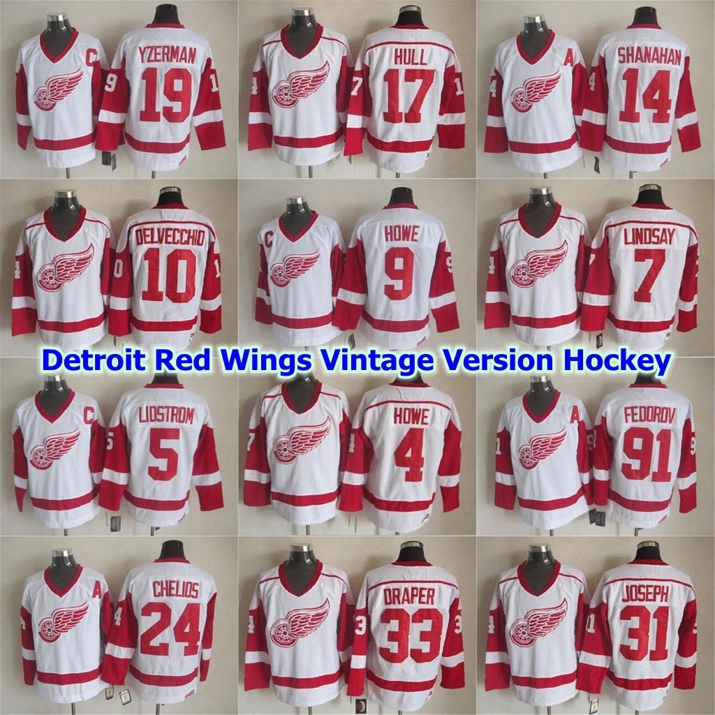 Detroit Red Wings Version Vintage Hockey Jersey 4 Mark Howe 5 Nicklas Lidstrom 7 Ted Lindsay 9 Gordie Howe 10 Alex Delvecchio Cousu