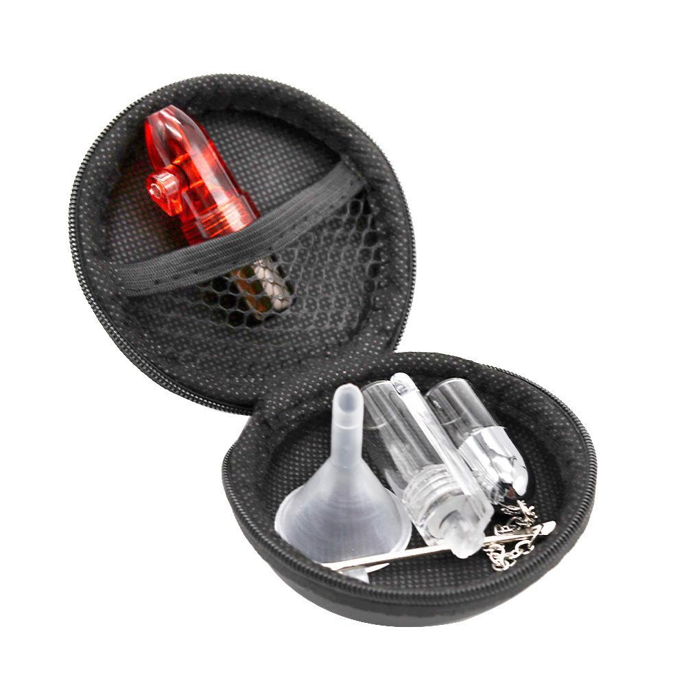 Snuff Set Bag beinhaltet Glasplatz Sniffer Snorter Dispenser + Glas Pille Flasche + Kunststofftrichter + Schnupftabakglas mit Löffel