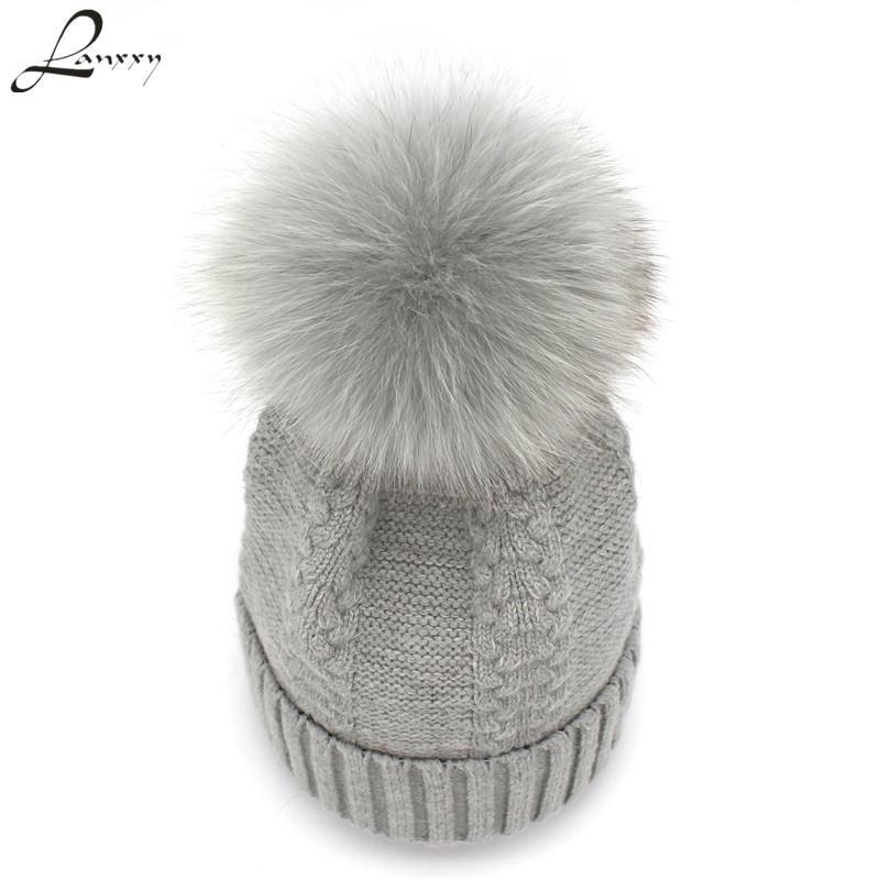 Lanxxy 2020 Yeni Örgü Şapka kasketleri Kadınlar Kızlar Kış Şapka Kürk Ponpon Şapka gorros Caps