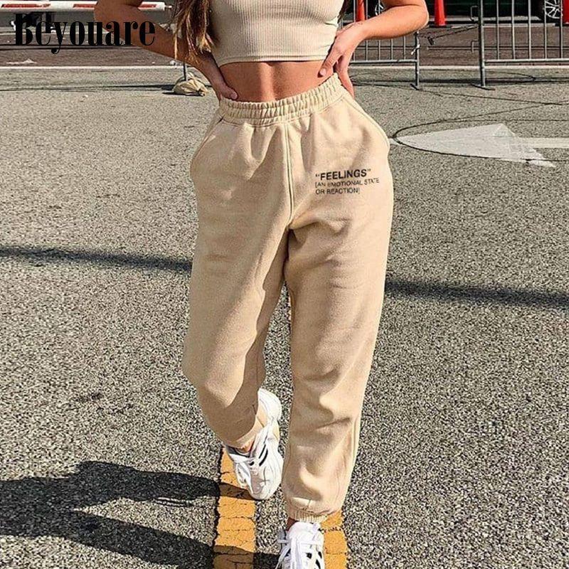 Beyouare ocasional de las mujeres de letras de algodón sweatpant verano de la impresión elásticos pantalones de cintura alta pantalones de los pantalones 2020sporting streetwear