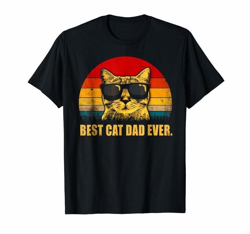 Vêtements vintage meilleur chat papa jamais T-shirt Cadeau de chat papa Père hommes 4688