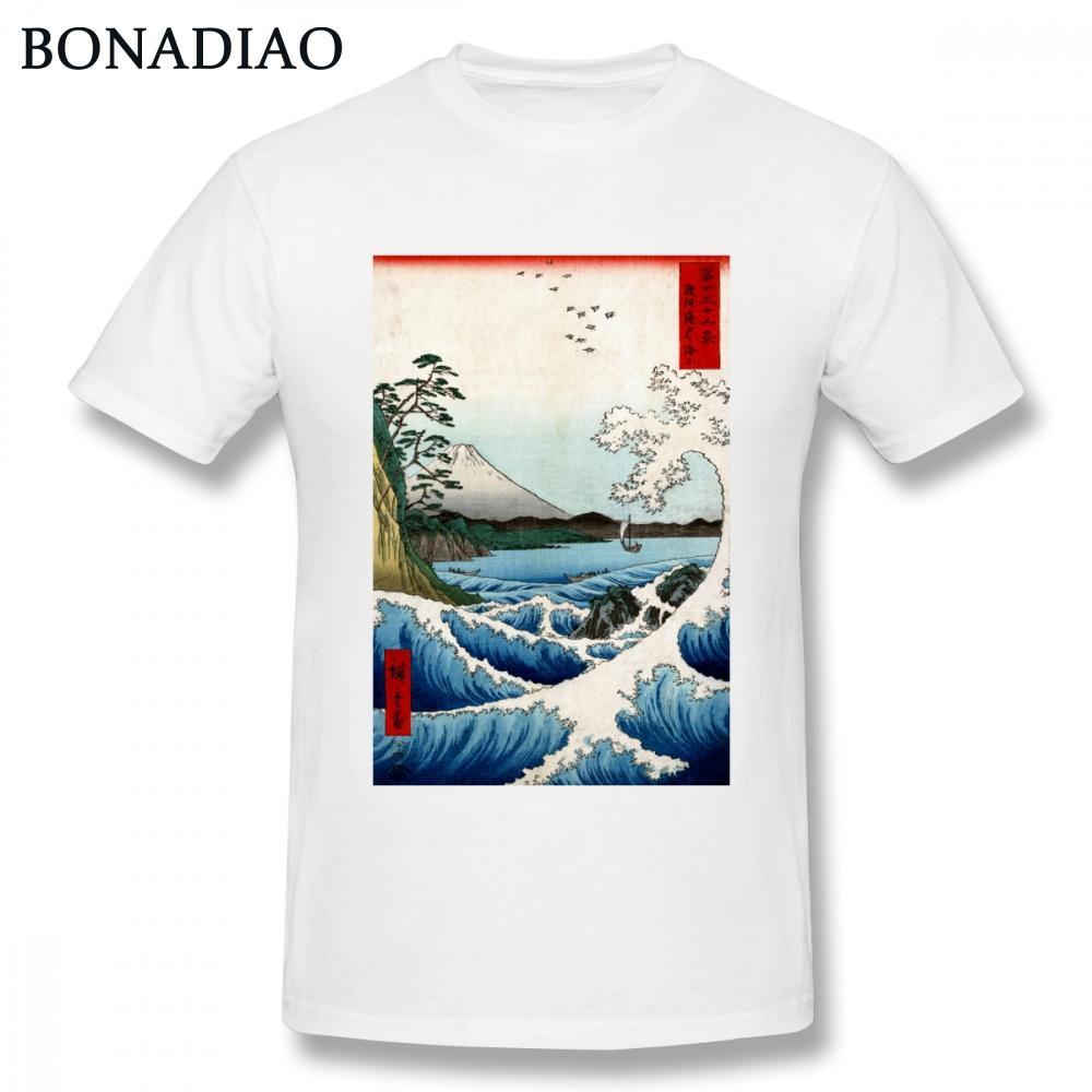 Ретро Стильный японский Ukiyoe Sea Wave T Shirt Men Vintage Design Tee S-6XL Большой размер Tee Shirt