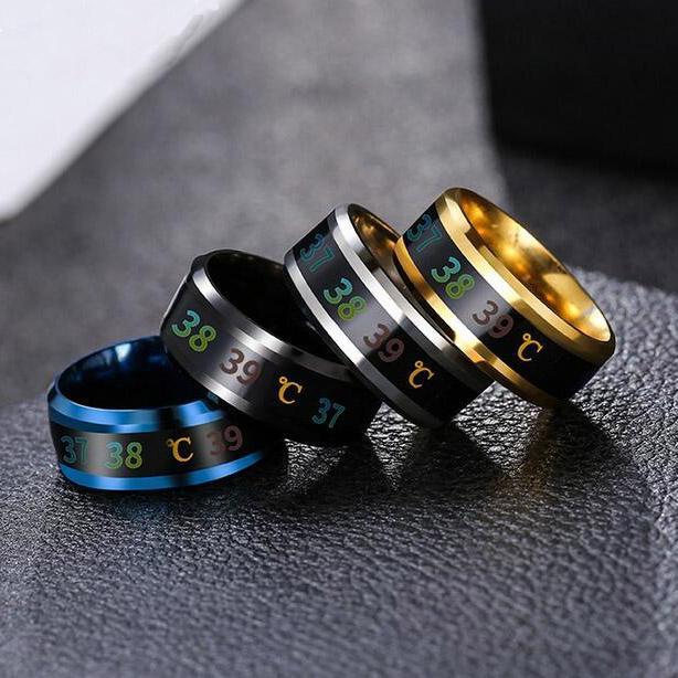 الرجال النساء أزياء مزاج الذكية درجة الحرارة زوجين حلقة الفولاذ المقاوم للصدأ عرض مجوهرات خاتم هدية الحجم 6 ~ 13