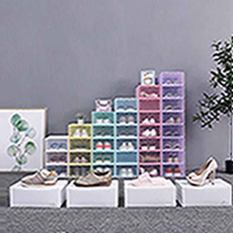 حذاء رشاقته واضح مربع من البلاستيك الغبار حذاء صندوق تخزين فليب حذاء شفاف علب الحلوى اللون تكويم شنط صندوق المنظم EEA2004-1