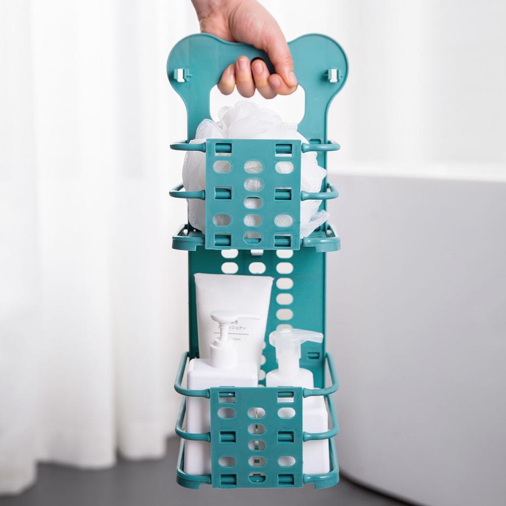 Nouveau chaud en plastique salle de bains étagère pliante Hanging Panier de rangement pour douche cosmétiques shampooing bain Holder salle de bains Panier