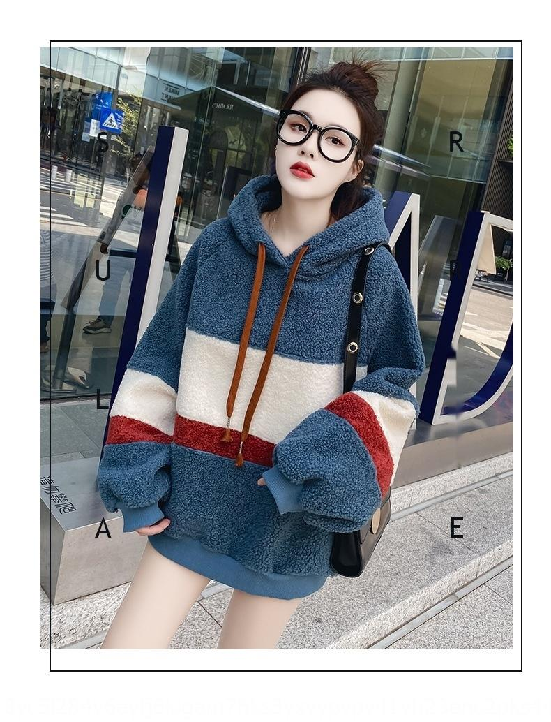 arAyp 2019 осень и имитация зимы пальто стиль ягненка флис модно sweatersweater западный шить контраст цвета свитер пальто женщин»