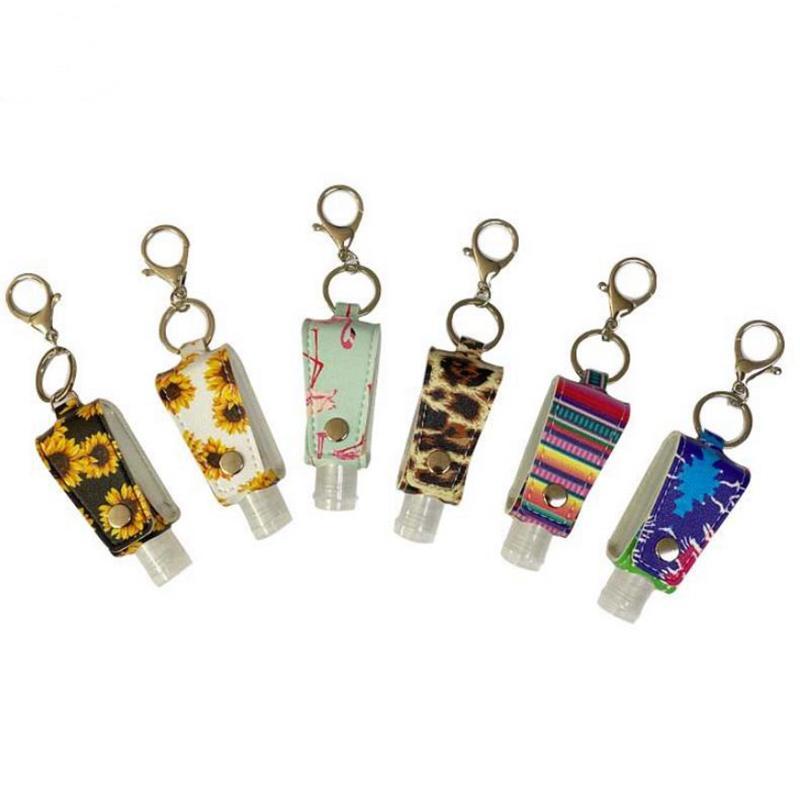 Cuir Sanitizer couverture Trousseau bouteille manches pour 30ml Désinfectant pour les mains à dos femmes pendentif porte-clés Accessoires de tournesol de GWE1800