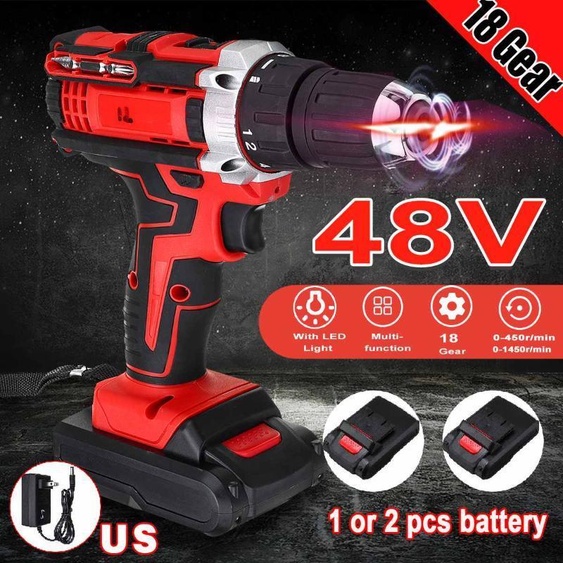 3 Em 1 elétrica furadeira sem fio chave de fenda 48v 2 Driver Speed 13000mah recarregável com 2 Li-ion Battery 110V 220V