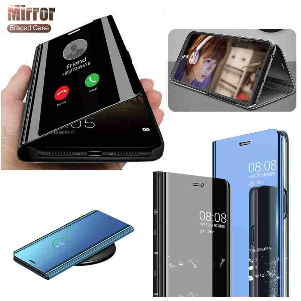 Samsung Galaxy S20 S10 E 5G için Flip Kılıfları 10 Artı Akıllı Temizle Elektrolizle Ayna Deri Standı Ince Kapak Kickstand Gösterge Durumda