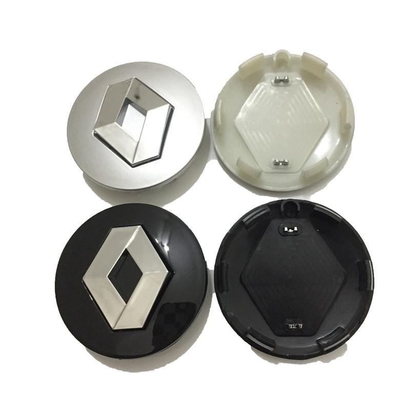 57mm Silver Abs Centro de Roda Hub Caps Bordas de Carro Capa Emblema Emblema Fit para Renault Clio Megane Cênico Laguna Twingo