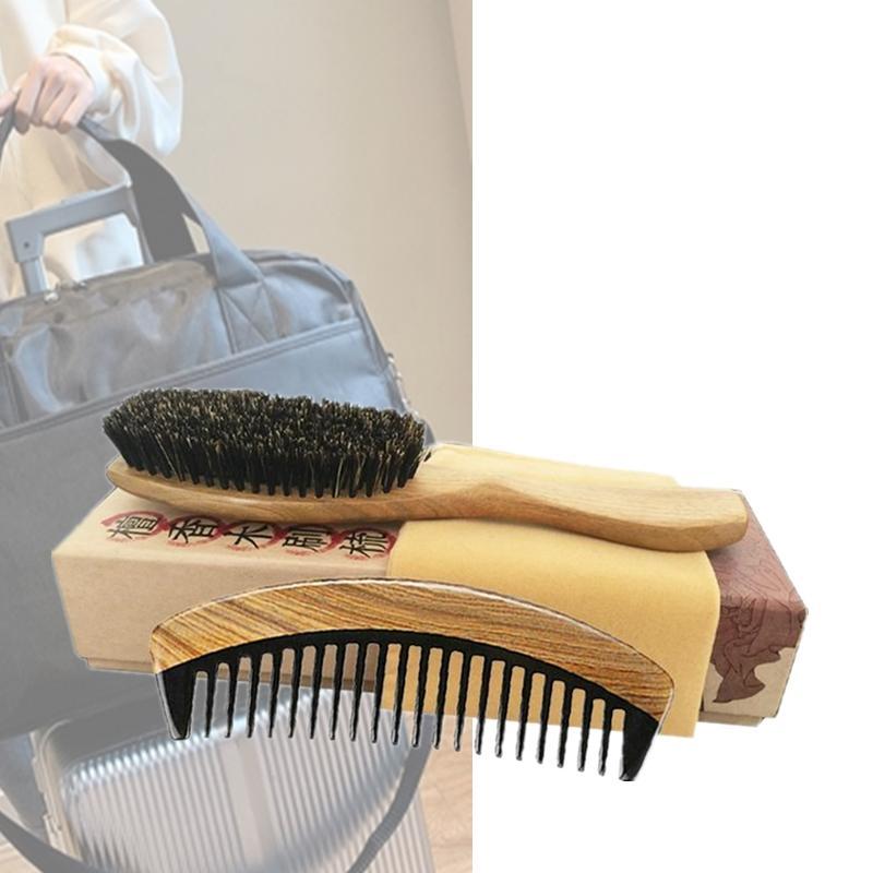 Luxury Boar Bristle Paddle Hair Brush & Wide Tooth Horn Wood Comb Hair Makeup Styling Detangling Women Curly Hair Men Beard Grooming Tool