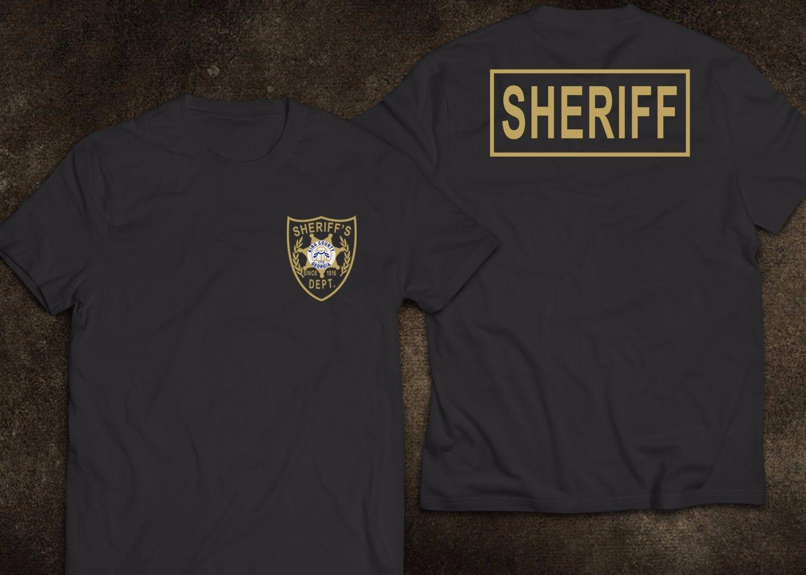 2020 моды NEW Sheriff King County Georgia Полиция США The Walking Dead Футболка Tee рубашки