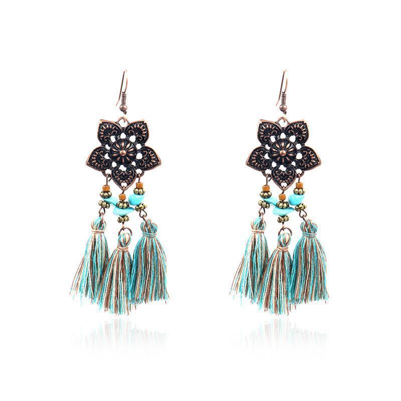 gli orecchini della Boemia cotone blu orecchini fascino nappa bronzo di stile Boho per le donne regalo femminile