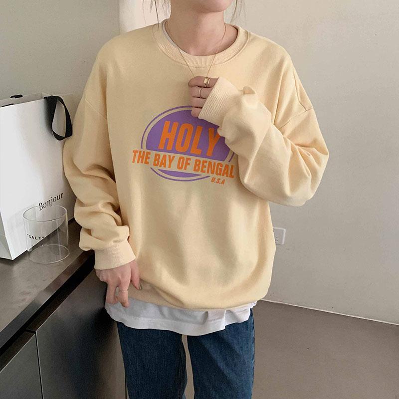 3 cores 2,020 formal coreano estilo de letra de impressão manga longa camisolas femininos mulheres roupas streetwear (X1576)