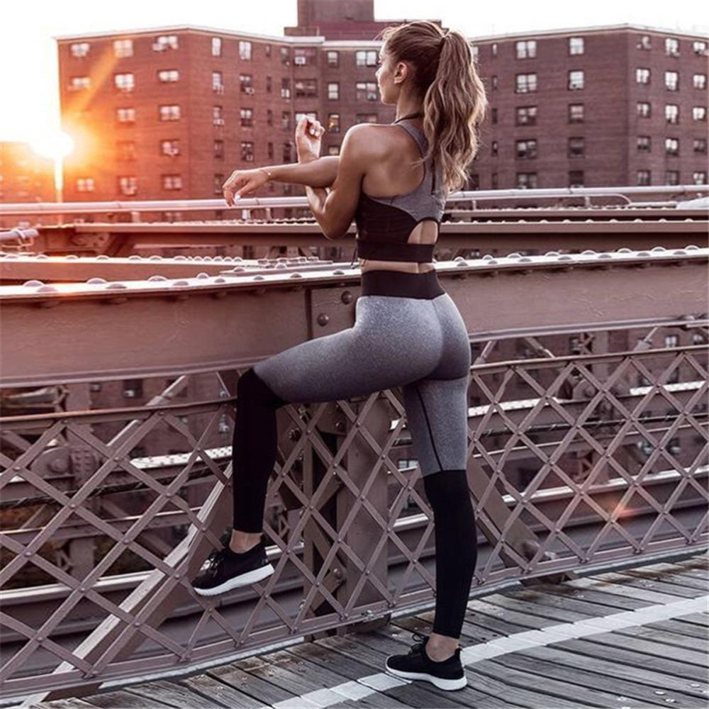 Mujeres Yoga Establece la aptitud del chaleco traje de gimnasio desgaste del entrenamiento ropa Correr polainas delgadas Pilato trajes del deporte del desgaste del deporte Yoga Pant Y200904