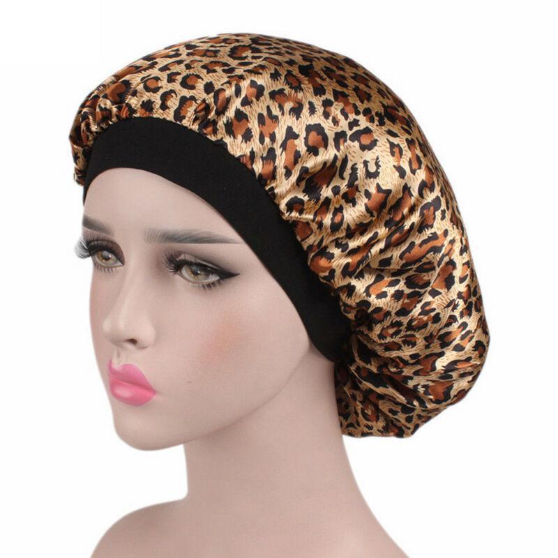 Satinado noche las mujeres del salón de belleza del sueño casquillos de ducha Cubierta del estampado de pelo la cabeza del sombrero de seda ancha casquillo elástico del pelo elástico Band