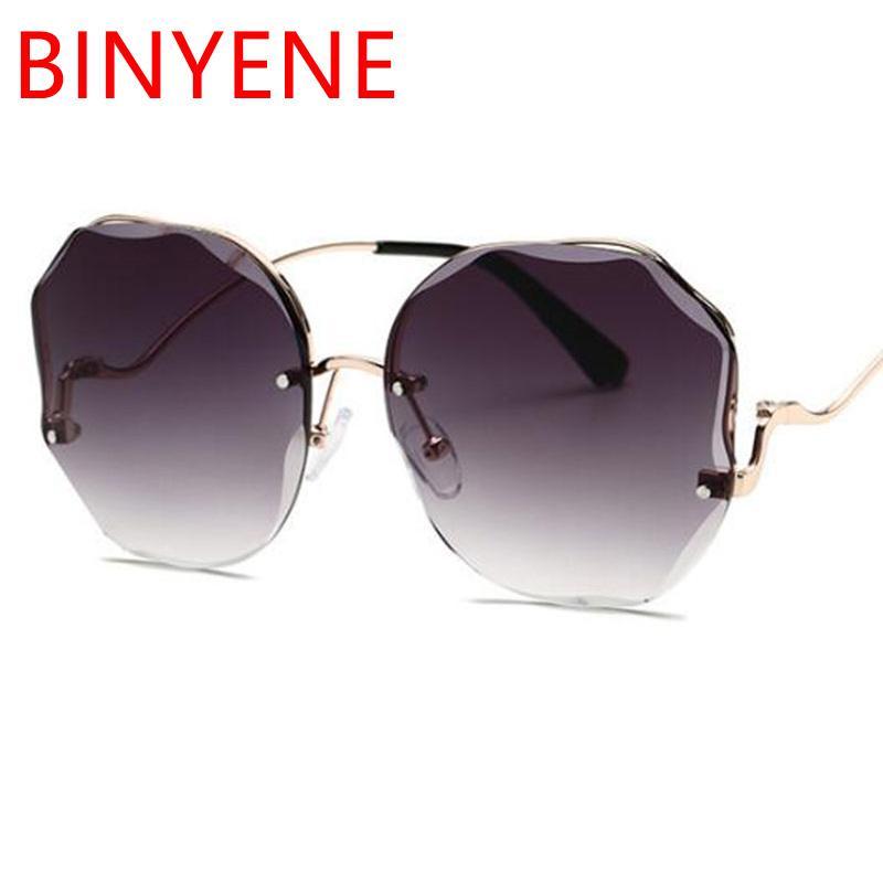2020 neue Brille Designer Randlose Legierungsrahmen UV400 Sonnenbrillen Sun Frauen Schneiden Gradienten Shades Gläser Objektiv Hälfte Bicolor Ubfvw