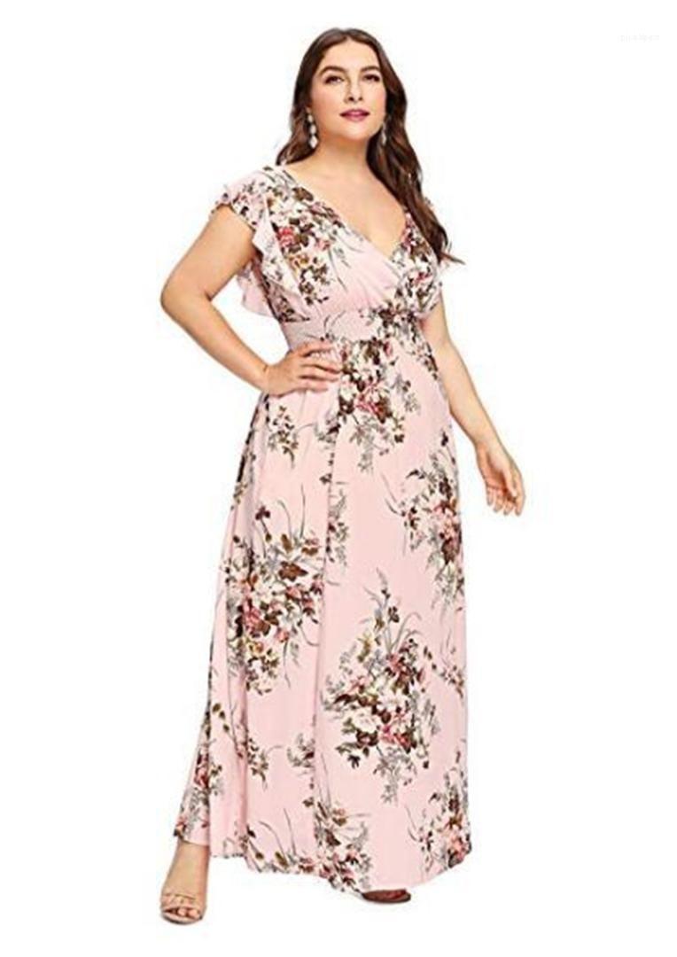 Süße Art plus Größen-Frauen-Kleidungs-Sommer-Frauen-beiläufige Kleider mit V-Ausschnitt ärmelBlumenMuster Kleider