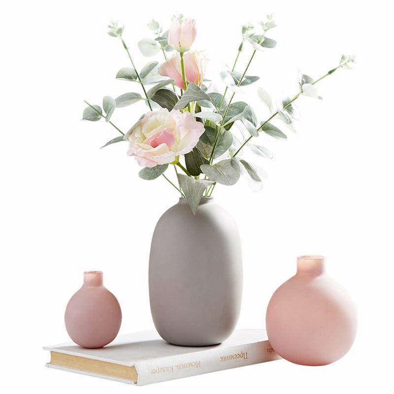 Fleurs décoratives Couronnes B-Life Morandi Couleur Vase Vase Moderne Accueil Décor Céramique à la main avec plantes artificielles Bureau élégant