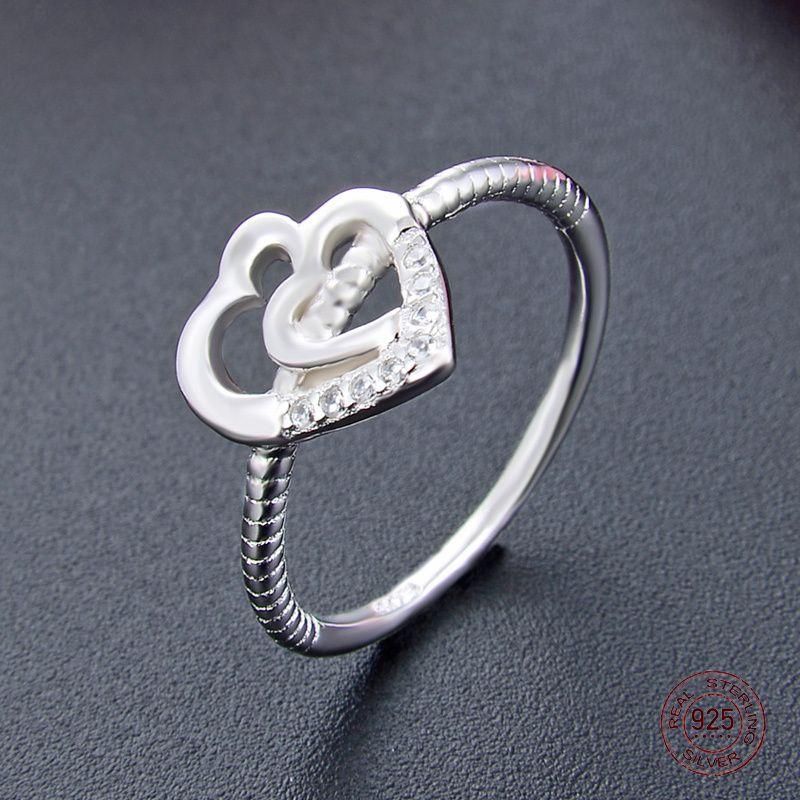 2020 nuovo arrivo S925 Sterling Silver impostazione placcato platino anello cuore romantico chiaro zirconi monili di lusso regalo per la ragazza