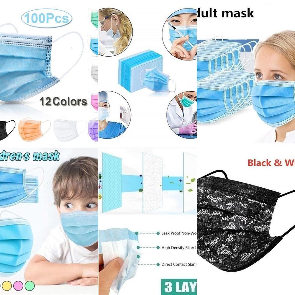 10pcs / 30pcs / 50pcs / 100 Pcs não-tecidos descartáveis Tecido Anti-poluição Máscara Facial 3 camadas filtrantes pessoal de rosto Boca Máscaras sGMRK Vixe