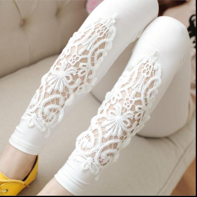 Scava fuori Cotton Leggings Lace diamante della stampa del fiore Leggins Pant metà di vita pantaloni di estate delle donne ha lavorato a maglia fitness Leggings