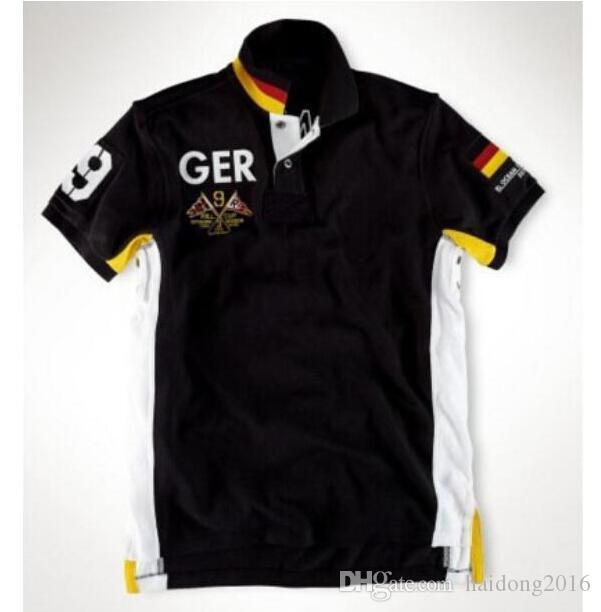 American Men Land Polo Shirts Big Pferd Stickerei Cotton Italien Australien SUI GER Spanien USA NZ UAE GBR T-Shirts Weiß Blau Schwarz S-XXL