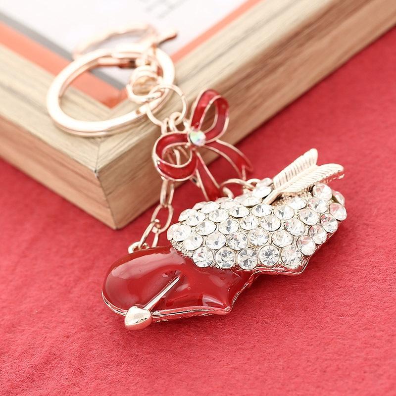 Av46h Uma seta dupla heartgift estilo criativo coreano com chave de diamante pendurando enfeites de diamante cadeia ornamentos saco pendurado