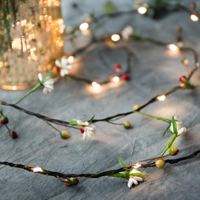 2M Con 20 luci LED Foglia Wicker Garland filo di rame di frutta del rattan della luce della stringa per il Natale di nozze Rustic Decor