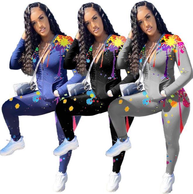 Donners Designer Abbigliamento 2021 Moda manica lunga spray pittura cerniera o collo cardigan set nuove donne vestiti