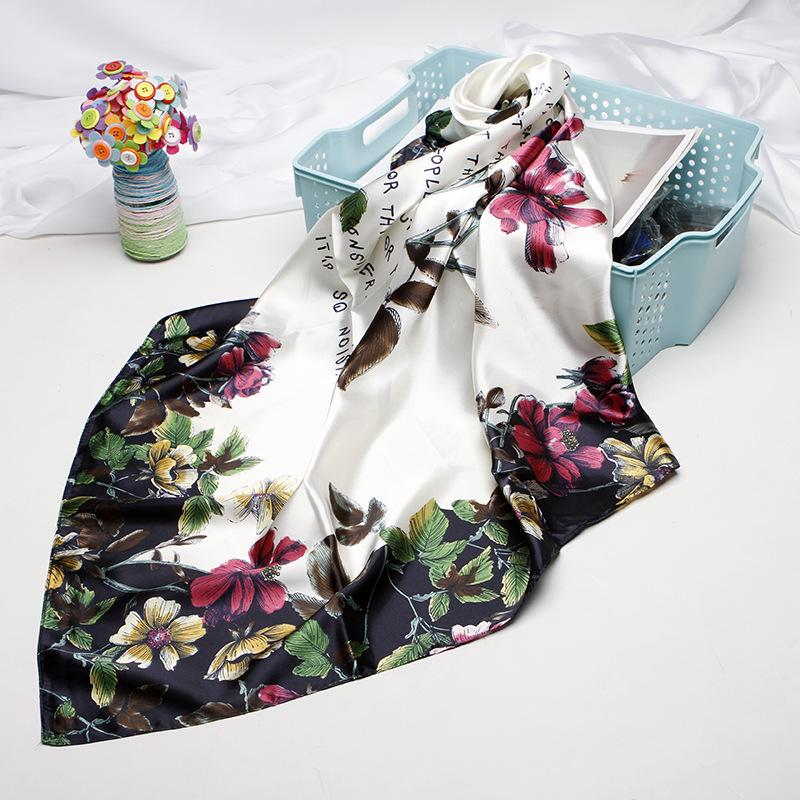 Floral Imprimé Foulard carré en soie 90 * 90cm satin crème solaire tête écharpe Bandana cou adulte mode personnalisé en gros