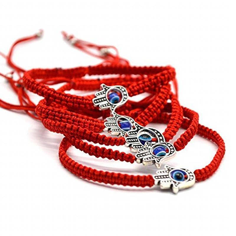 Handmade corda trançada pulseira vermelha cadeia de olho mau Braceletes para as Mulheres lhe trazer afortunado calmo tamanho ajustável