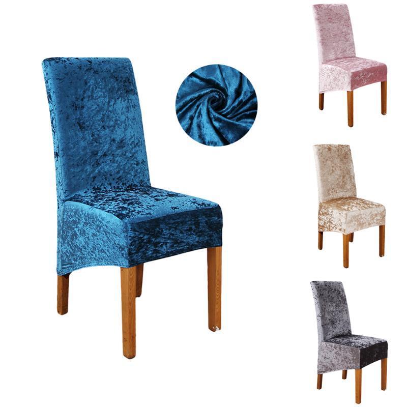 1/2/4 / 6pcs Velvet pranzo copertura della sedia dello Spandex Fodera della sedia da cucina banchetto di nozze cassone elastico estensibile per