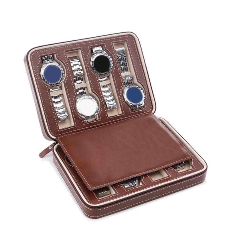 2/4/8 Сетки Портативный искусственной кожи на молнии Путешествия Часы для хранения Case Box Организатор Часы Дисплей Мужчины Женщины Часы Коллектор Case