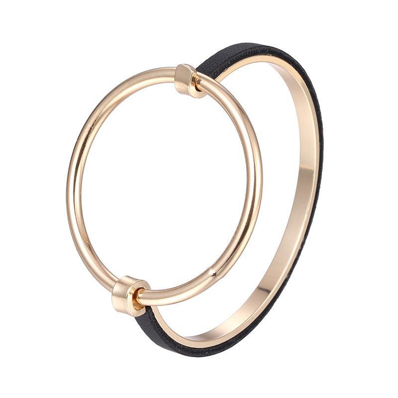 Bangle Minimalist Punk Round For Women Gold-color Exaggerate Geometric Metal Skeleton Bracelets & Bangles Jewelry