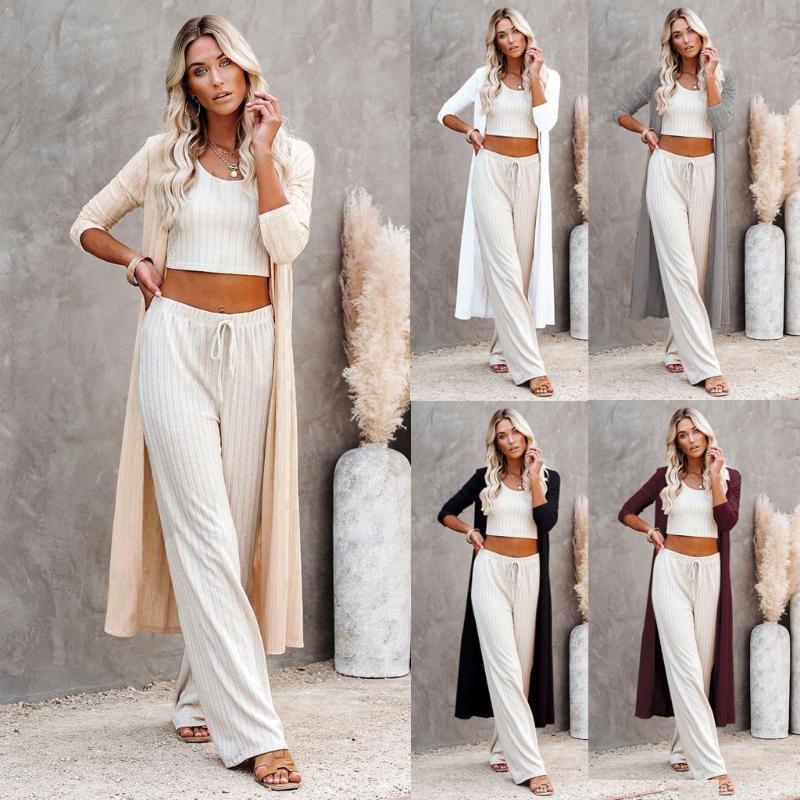 Women's Knits & Tees 2021 Fashion Casual Women Solid Long Kimono Cardigan Blouse Shawl Loose Tops Outwear Coat Winter Sweater