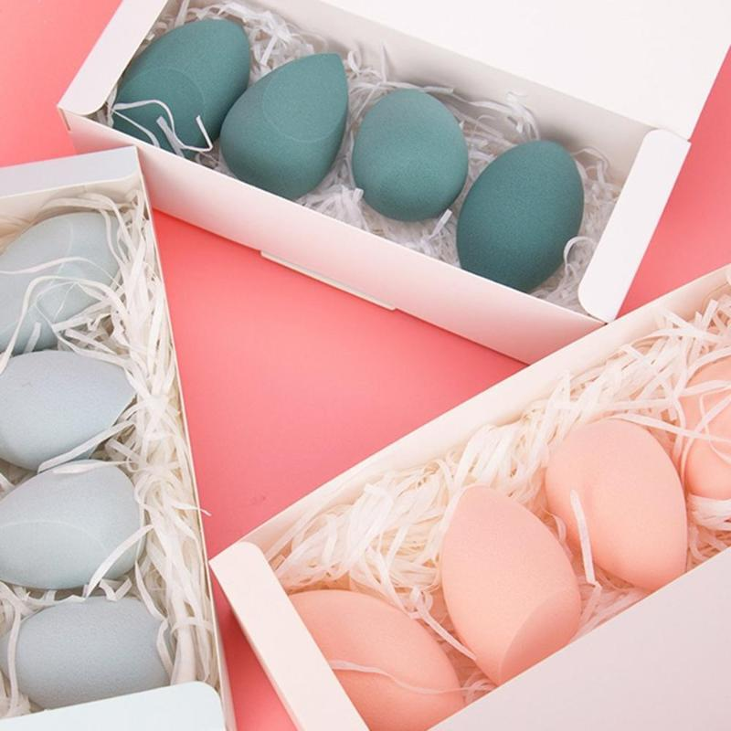 4pcs Water Drop Shape Cosmetic Puff Makeup Sponge Face Liquid Foundation Cream Hydrophilic Dry Wet Make Up Powder Puff With Box