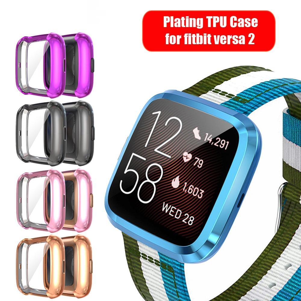 Vigilanza dello schermo di copertura Shell impermeabile 1Pcs placcatura TPU Guarda caso della protezione della fascia Per Fitbit Versa 2 Smart Guarda il 2020 il nuovo disegno