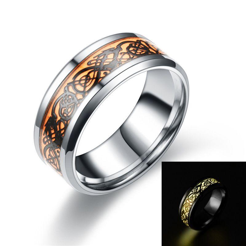 RingEuropean ve Amerikan ejderha halka karanlık aydınlık paslanmaz çelik moda erkek toptan üretici