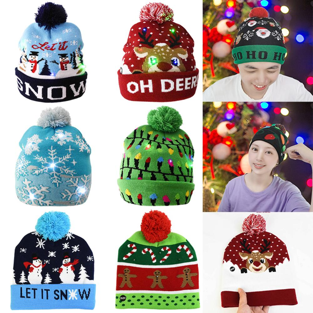 Led Beanie Knitted Sweater Warm Light Up Illuminate Hat for Kids Adults Gift New Year Christmas Decor Navidad