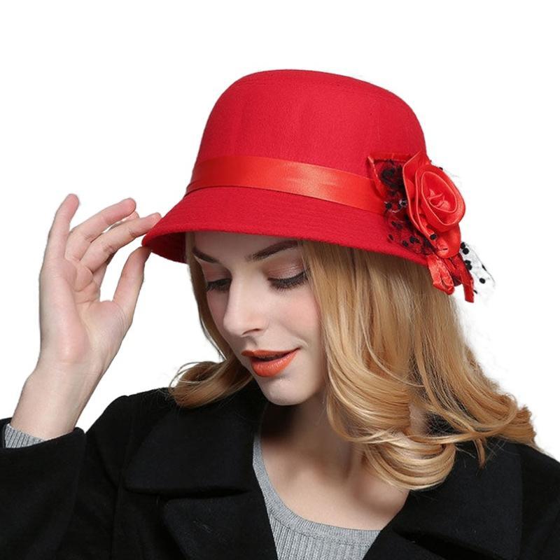 Elegante de lana de color sólido imitación de Fedora Sombreros Del Cubo para Cap Bowler casual caliente de las mujeres de moda otoño invierno sombrero de la flor de la vendimia