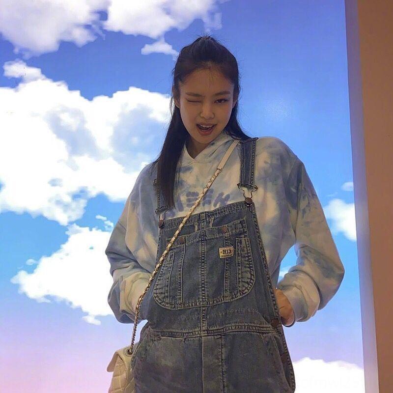 BlackPink Jin Zhini Jennie Style Teat-Creed Корейский стиль Свободные Топ Свитер Свитер Ленивый Топ для Женщин 2020 Осень 5RH0D