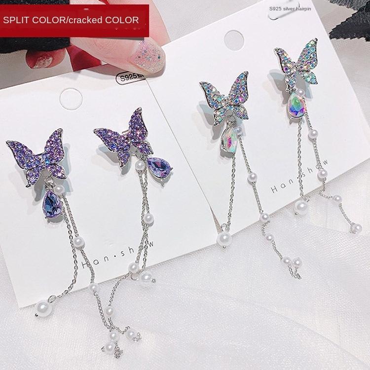qqH7v 925 ago d'argento Super fata Long orecchini di perle arco nappa perla della farfalla orecchini due usura 2020 nuova moda viola