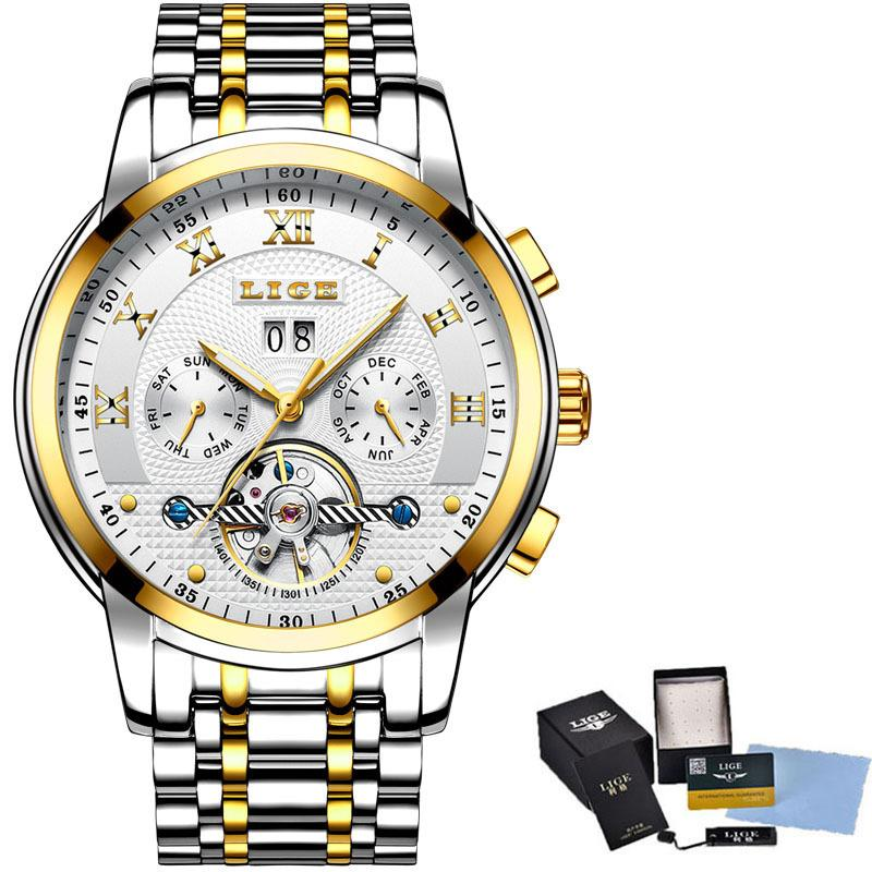 Mayforest Classic Business Watch Men Automatic Mechanical Tourbillon Watch Luxury Fashion Stainless Steel Waterproof Sports Watch Men