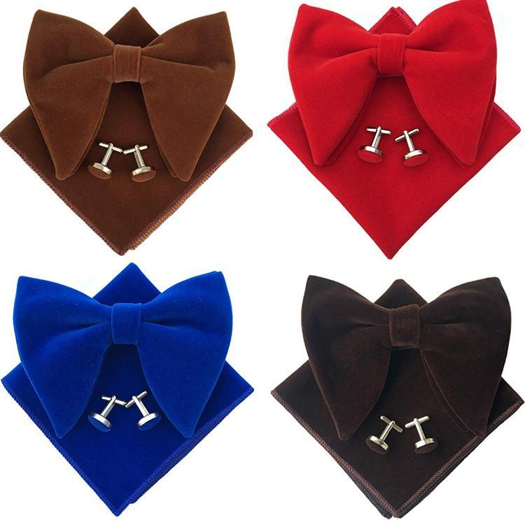 12x10.5CM Grand Bow Tie Set Banquet Velveteen britannique Hommes de couleur unie de poche serviette surdimensionné Boutons de manchette Bowtie Ensembles trois pièces