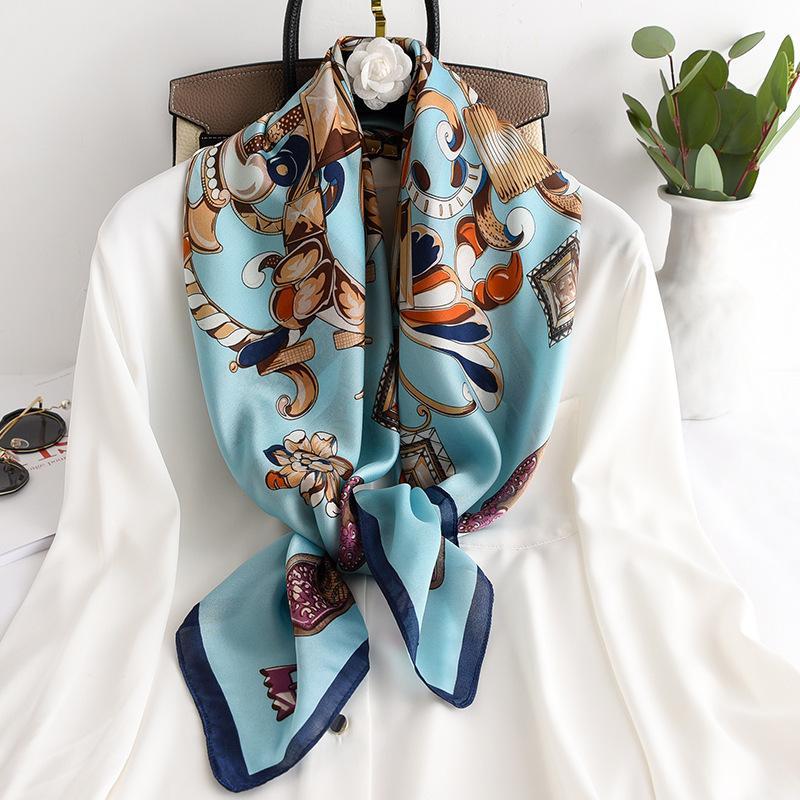 2020 Moda bufandas para Hijab bufanda de seda de las mujeres del satén Mujer 90 * 90cm Plaza Nueva Mantón diadema bufandas señoras del poncho