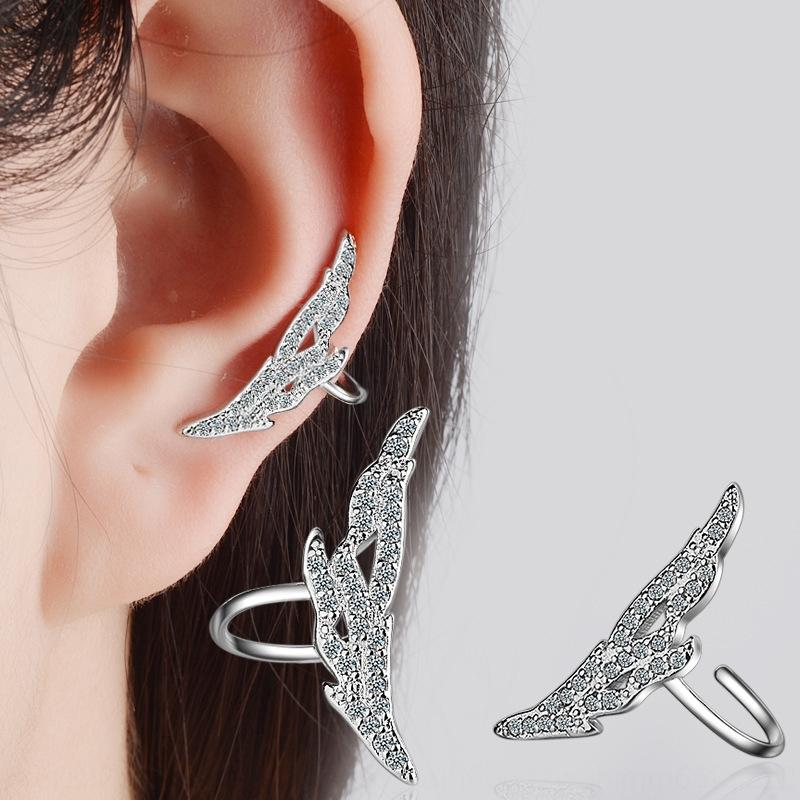8ghoK Сердце орнамента крылья алмазная и уха клип женской серег свободной серьга с нанесенным темпераментом простых серьгами стиля Mori корейских
