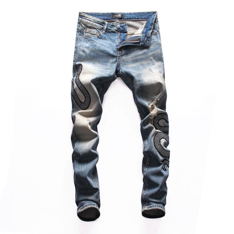 New Mens Designer Jeans Blue Embroidery Snake Slim Fit Fashion Hole Denim Pants Ripped Distressed Slim Pencil Pants Motorcycle Pants