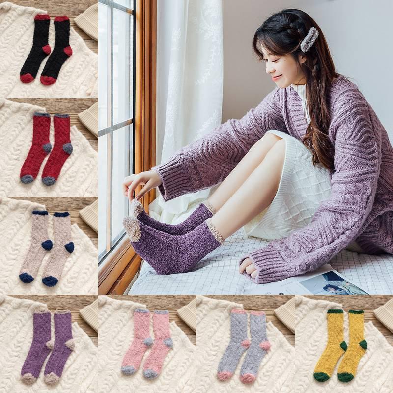 Women Soft Cozy Sleeping Stocking Girls Coral Velvet Fluffy Socks 2020 Winter Warm Fuzzy Sock Lady Home Floor Towel Socks 7 Colors L610FA