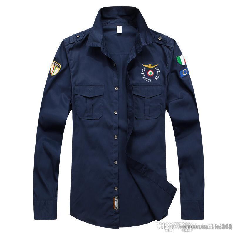 Осень с длинным рукавом рубашки мужской досугом корейской версии самосовершенствования вышивки мужских рубашек тенденции мужских фабричной онлайн